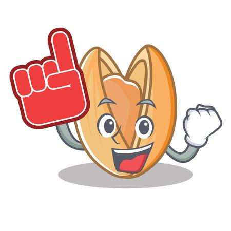 Foam finger pistachio nut mascot cartoon