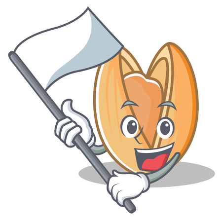 With flag pistachio nut mascot cartoon Illustration