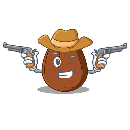 Cowboy coffee bean character cartoon