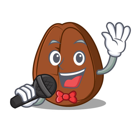 Singing coffee bean mascot cartoon vector illustration Иллюстрация