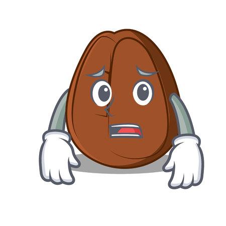 Afraid coffee bean mascot cartoon vector illustration Illustration