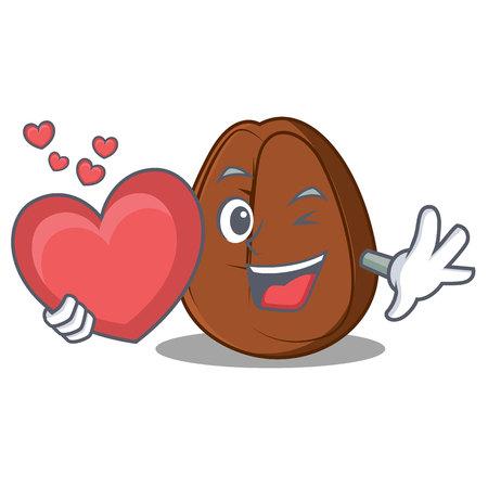 With heart coffee bean mascot cartoon vector illustration.