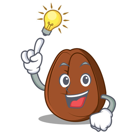 Have an idea coffee bean mascot cartoon vector illustration