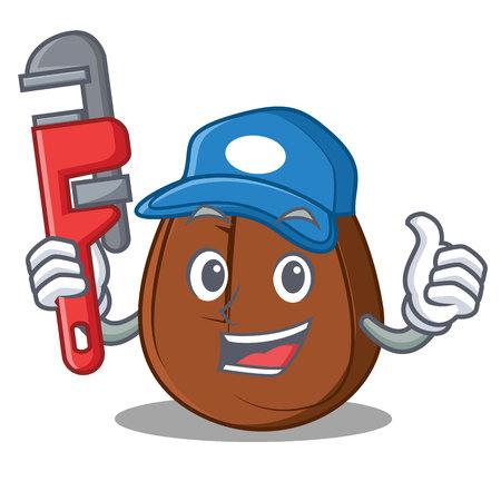 Plumber coffee bean mascot cartoon vector illustration