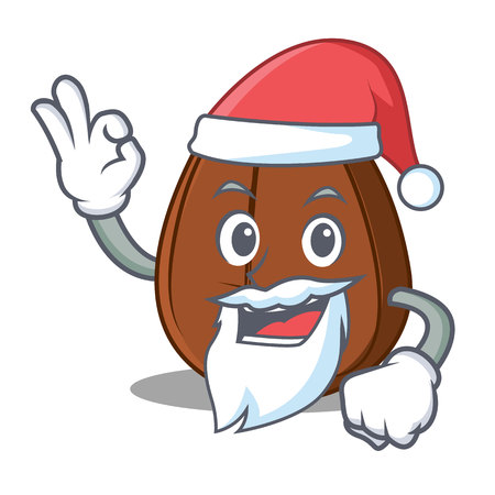Santa coffee bean mascot cartoon vector illustration