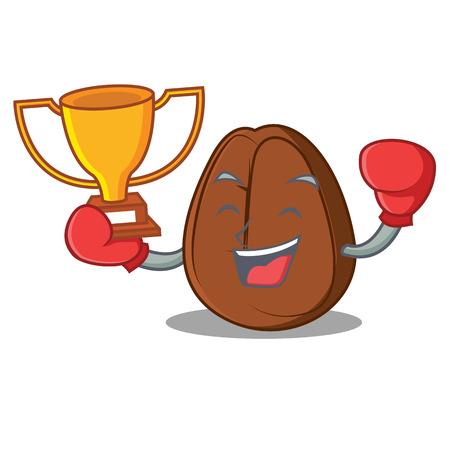 Boxing winner coffee bean mascot cartoon vector illustration Illustration