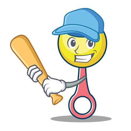Playing baseball rattle toy character cartoon illustration.