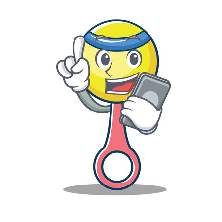 With phone rattle toy character cartoon vector illustration.