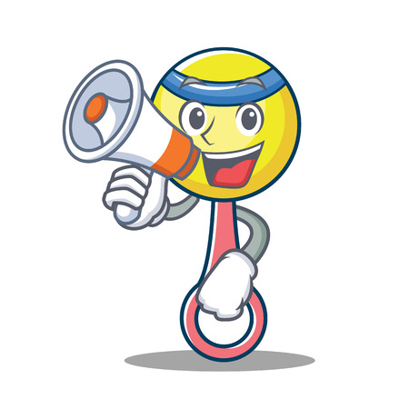 With megaphone rattle toy character cartoon vector illustration