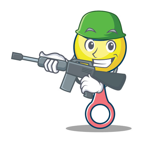 Army rattle toy character cartoon vector illustration