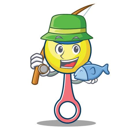 Fishing rattle toy mascot cartoon Illustration