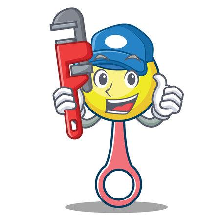 Plumber rattle toy mascot cartoon