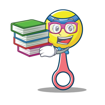 Student with book rattle toy mascot cartoon