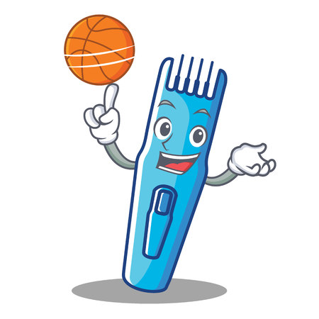 With basketball trimmer character cartoon style vector illustration