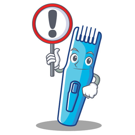 With sign trimmer character cartoon style vector illustration Illustration