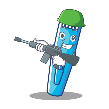 Army trimmer character cartoon style vector illustration