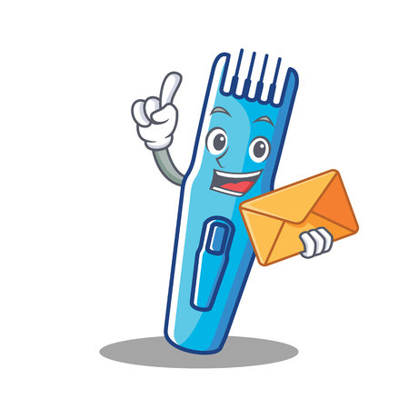 With envelope trimmer character cartoon style vector illustration