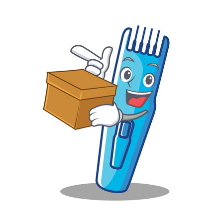 With box trimmer character cartoon style vector illustration