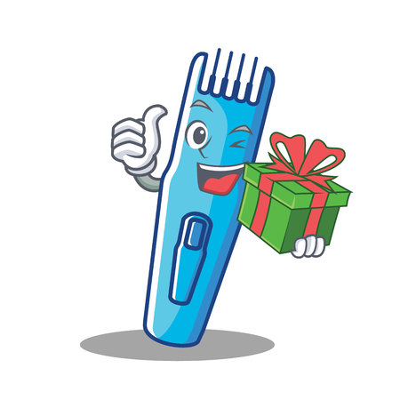 With gift trimmer mascot cartoon style vector illustration