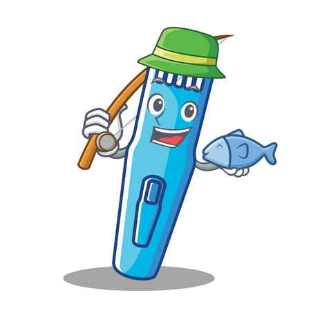 Fishing trimmer mascot cartoon style vector illustration