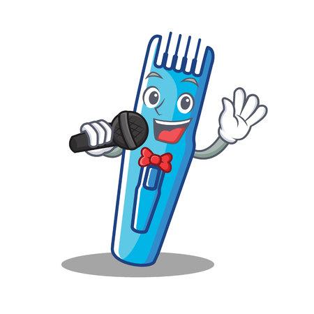 Singing trimmer mascot cartoon style