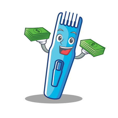 Avec l'argent tondeuse mascotte cartoon style vector illustration
