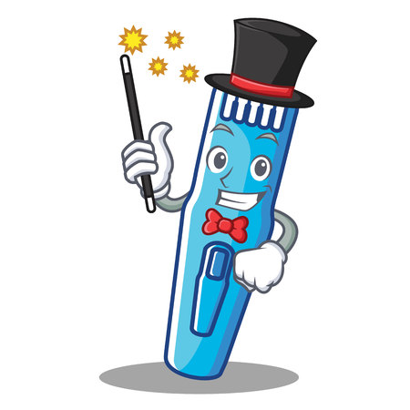 Magician trimmer mascot cartoon style vector illustration.