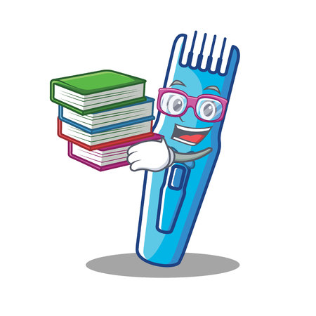 Student with book trimmer mascot cartoon style vector illustration Illustration