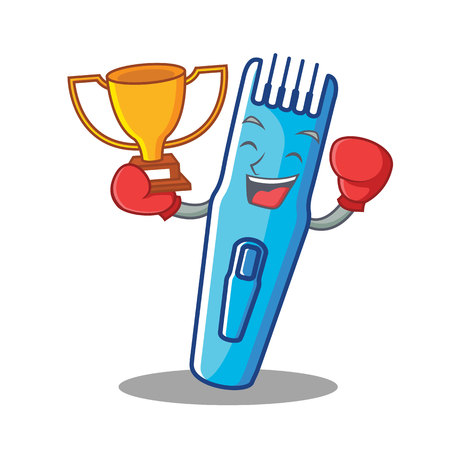 Boxing winner trimmer mascot cartoon style vector illustration Illustration