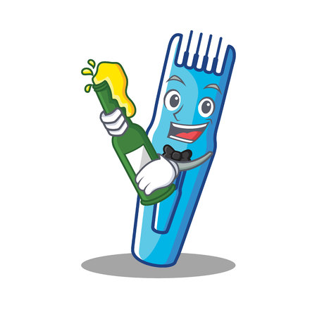 With beer trimmer mascot cartoon style vector illustration Illustration