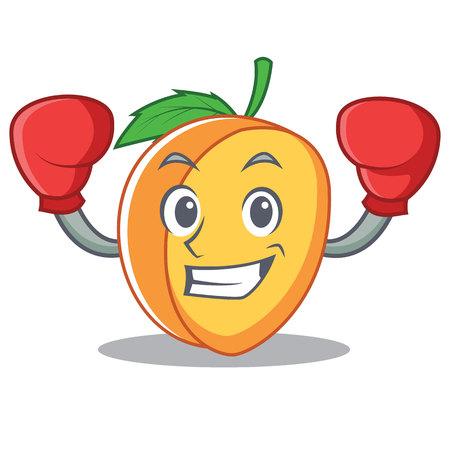Boxing apricot character cartoon style vector illustration Çizim