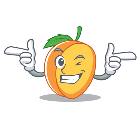 Wink apricot character cartoon style vector illustration