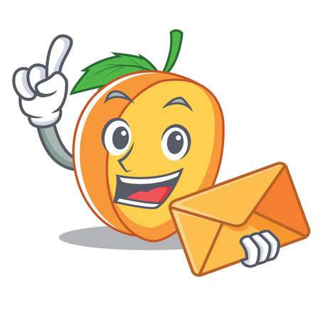 With envelope apricot character cartoon style vector illustration