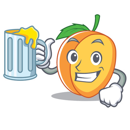 With juice apricot mascot cartoon style vector illustration