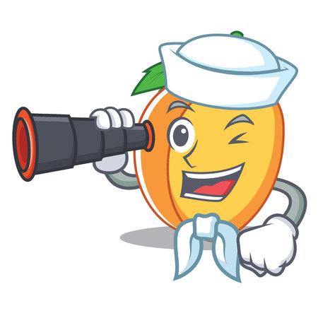 Sailor with binocular apricot mascot cartoon style vector illustration Illustration