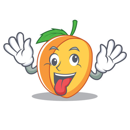 Crazy apricot mascot cartoon style vector illustration