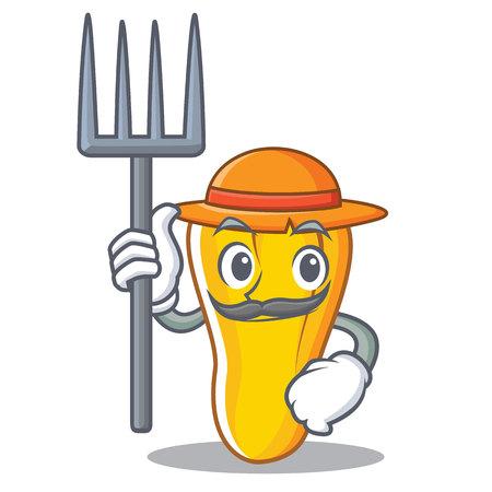 A Farmer cashew character cartoon style vector illustration