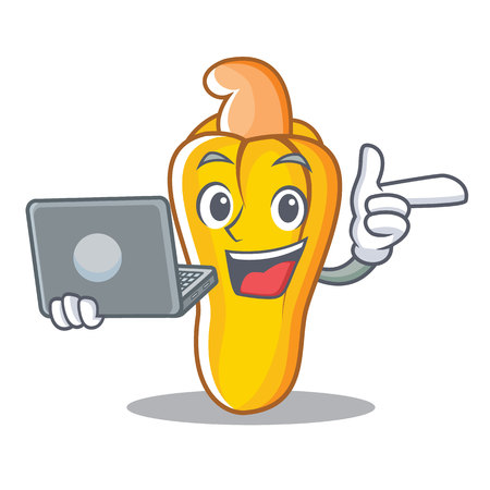 With laptop cashew character cartoon style vector illustration