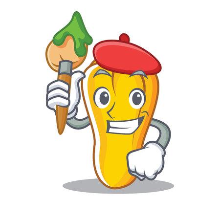 Artist cashew character cartoon style vector illustration