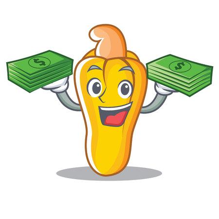 With money cashew mascot cartoon style vector illustration