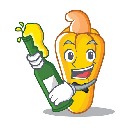 With beer cashew mascot cartoon style Illustration
