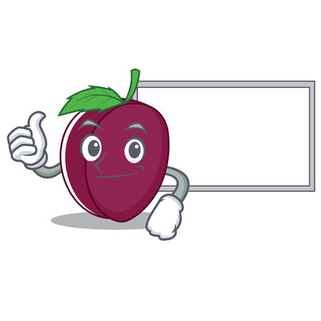Thumbs up with board plum character cartoon style vector illustration Illustration