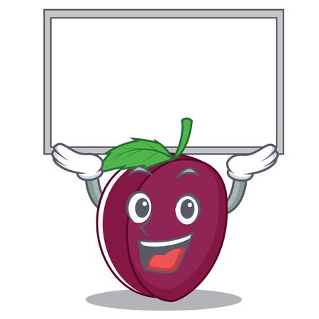 Up board plum character cartoon style vector illustration Illustration