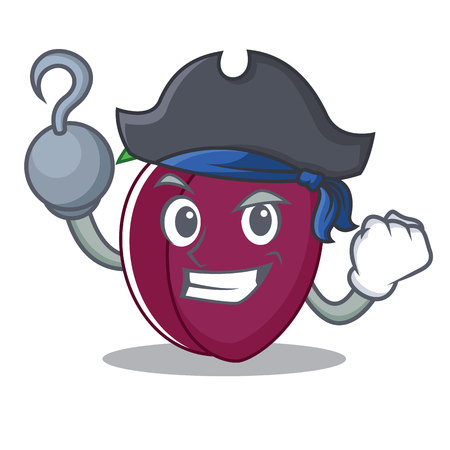 Pirate plum character cartoon style vector illustration Illustration