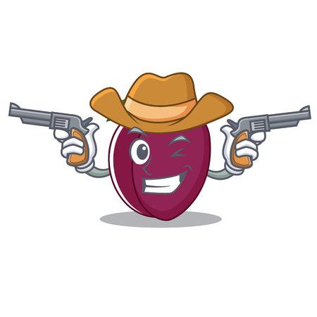 Cowboy plum character cartoon style vector illustration Illustration