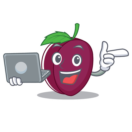 With laptop plum character cartoon style