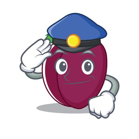Police plum character cartoon style