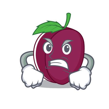 Angry plum mascot cartoon style