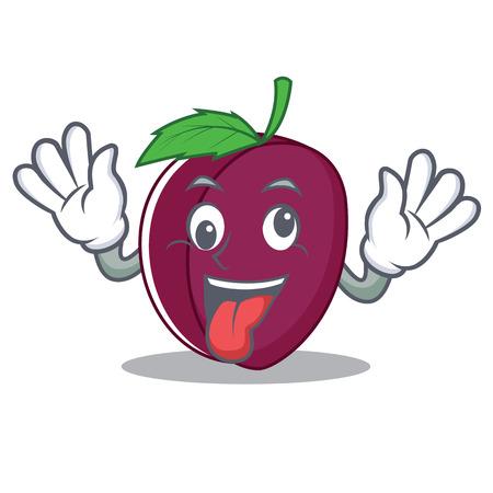 Crazy plum mascot cartoon style vector illustration