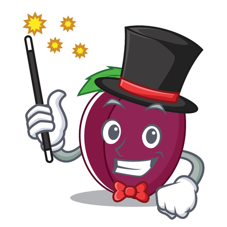 Magician plum mascot cartoon style vector illustration Illustration
